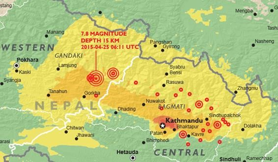 Area Affected by Nepal Earthquake Affected Areas of The Nepal